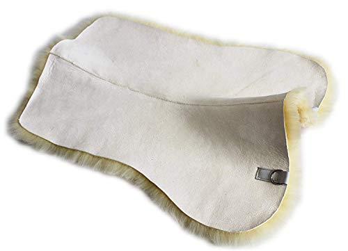 Merauno Echt Lammfell Sattelunterlage Unterlage für Schabracke Satteldecke Sattelpad Ergibt mit den vorhandenen Decken EIN schönes Sattelkissen zur Druckentlastung und Klimatisierung (M-(67cm), Beige